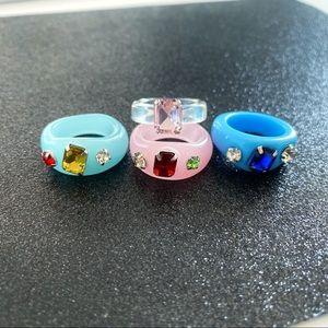 Chunky Acrylic Gemstone Rings - Set of 4